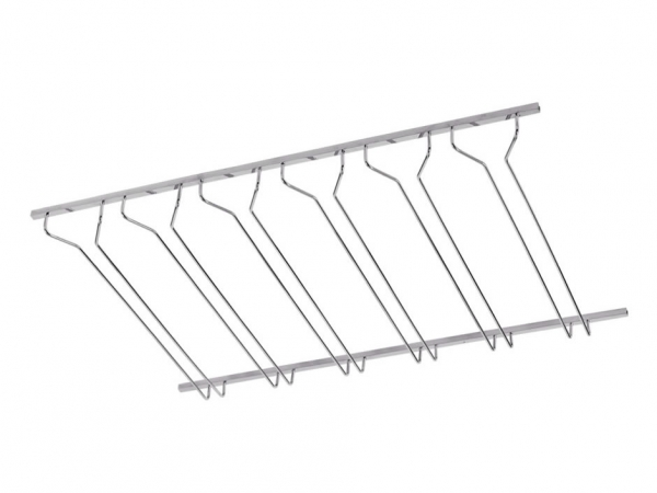 Model CMGR-3 Satin Stainless Steel Channel Mounted Bar Glass Rack 3' - ESP Metal Products & Crafts