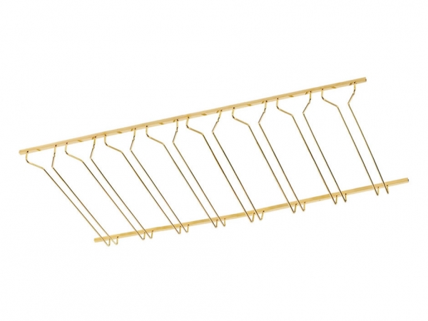 Model CMGR-4 Polished Brass Channel Mounted Bar Glass Rack 4' - ESP Metal Products & Crafts