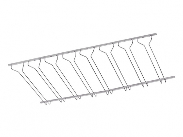 Model CMGR-3 Polished Chrome Channel Mounted Bar Glass Rack 4' - ESP Metal Products & Crafts