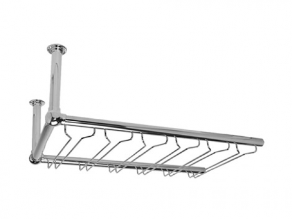 Model OHGR Polished Chrome Overhead Bar Glass Rack Add-On Unit - ESP Metal Products & Crafts