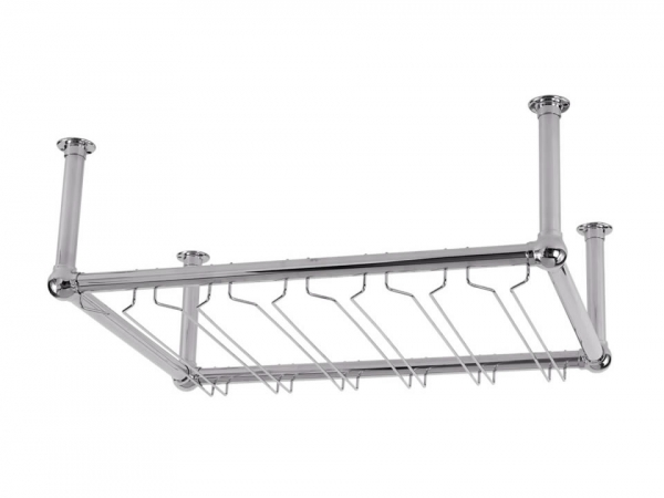 Model OHGR-3 Satin Stainless Steel Overhead Bar Glass Rack - ESP Metal Products & Crafts