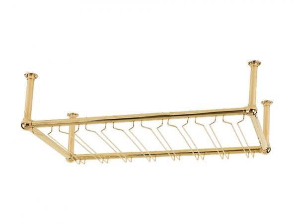 Model OHGR-4 Polished Brass Overhead Bar Glass Rack - ESP Metal Products & Crafts