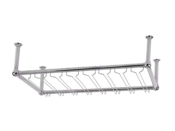 Model OHGR-4 Polished Chrome Overhead Bar Glass Rack - ESP Metal Products & Crafts