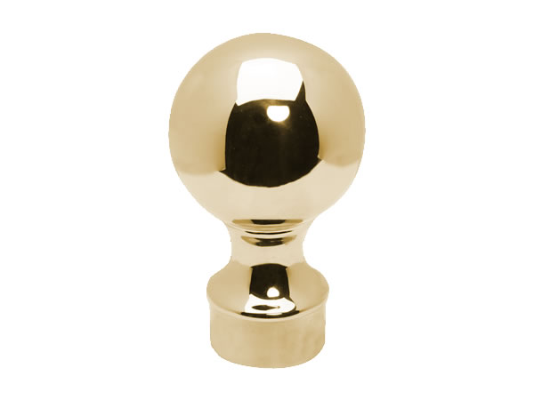 Model 812 Coated Polished Brass Ball Top End Cap - ESP Metal Products & Crafts
